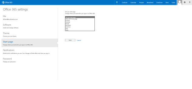Office 365 Start Page Customisation