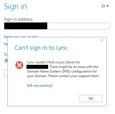 Lync Online DNS Error