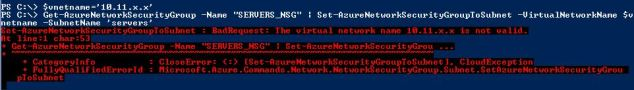 NSG - The Virtual Network name is not valid