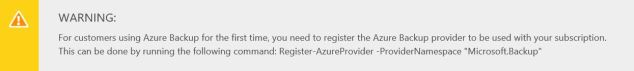 Warning: Azure Backup