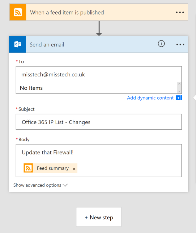 Microsoft Flow Send an Email