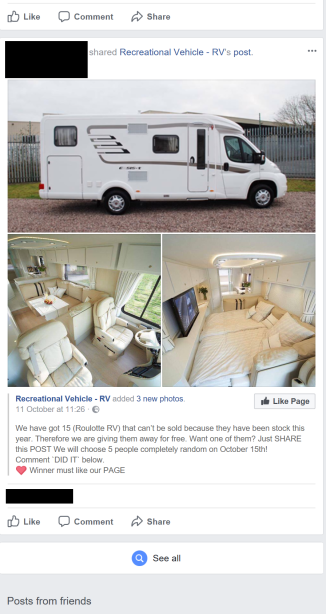 Post offering a free Recreational Vehicle!